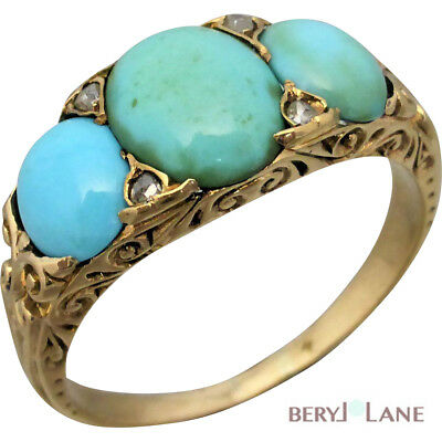 Victorian Revival 18k Yellow Gold Filigree TURQUOISE & Rose-cut DIAMOND RING
