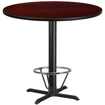 "42"" Restaurant Bar Height Table with Mahogany Laminate Top and Foot Ring"