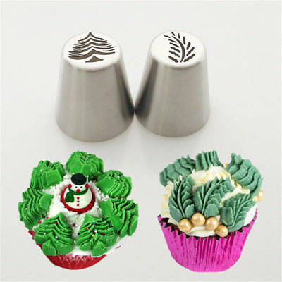 2Pcs Christmas Tree Icing Russian Piping Tip Leaf Nozzle Cupcake Pastry Tools