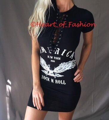 SEXY Black White Bodycon Plunge Lace Up Cleavage Graphic Biker Tunic Shirt Dress