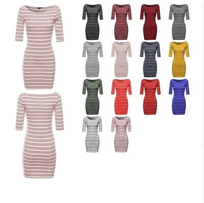 FashionOutfit Women's Basic Every Day Boat Neck Stripe 3/4 Sleeve Dress