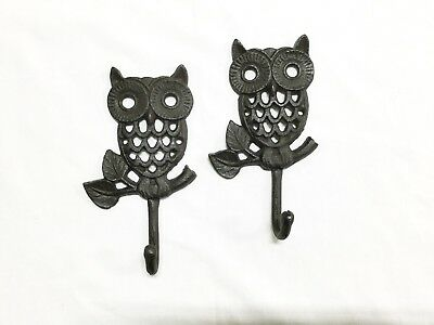 New Rustic Cast Iron Owl Coat Hooks (1184-0602) Set Of 2