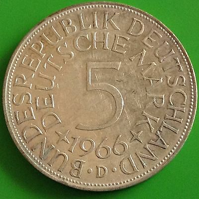 1966 - D  Germany Silver 5 Mark Coin