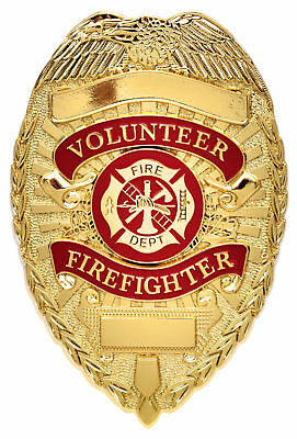Volunteer Firefighter Badge Gold Fire Department Shield FD 1929 Rothco