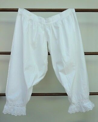Victorian White Lace Bloomers Cotton Broderie Analyse Under Garment Knickers