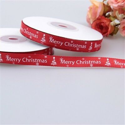 25 Yards/Roll Happy Merry Christmas Decoration Red Ribbon Gift Wrapping 10MM
