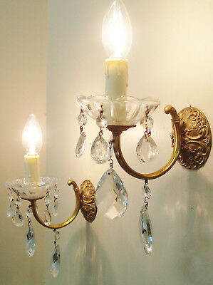 Lovely Pair Glass Cups & Droplets Sconces Wall Lights Vintage French Chic