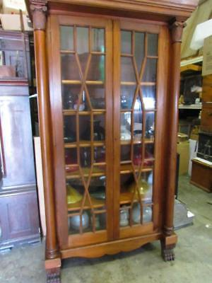 TALL ANTIQUE 1800s CLASSICAL AMERICAN EMPIRE DOUBLE DOOR BOOKCASE