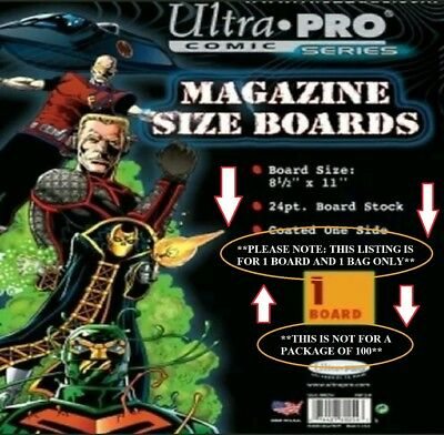 "1 UltraPro Magazine Size Comic Bag (8-3/4"" x 11"") & Board (8-1/2"" x 11"") NOT 100"