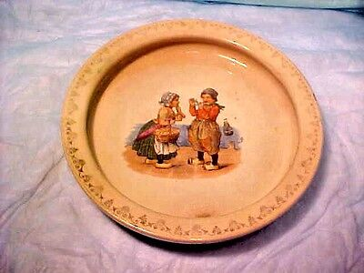 RARE ANTIQUE D.E. McNICOL EAST LIVERPOOL O CERAMIC POTTERY DUTCH SCENE PLATE OLD