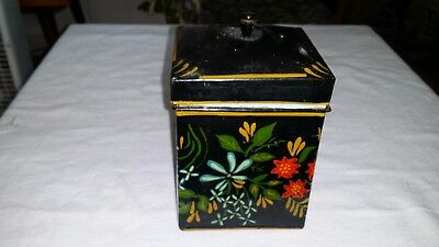 Gorgeous Hand Painted  Vintage Tin Tea Caddy - Spice Box  Flowers (No 1)