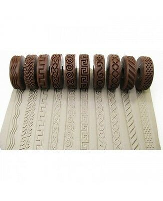 Pottery texturing ceramic clay rollers: Rélyéf set of debossed waves – 10 pcs.