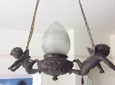 Antique Bronzed Ornate Cherub Hanging Ceiling Light