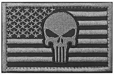 Punisher American Flag Patch Tactical Military Patch / Velcro Morale (Gray) New