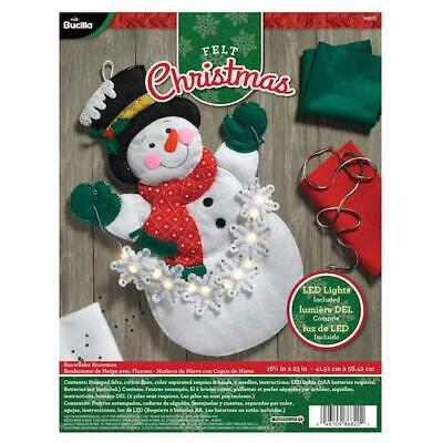 "Bucilla 16x23"" Felt Applique Kit - Snowflake Snowman with LED Lights"