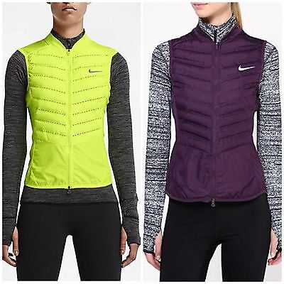 Women's Nike Aeroloft 800 Running Vest Noble Purple / Neon Yellow Size XS,S,M,L