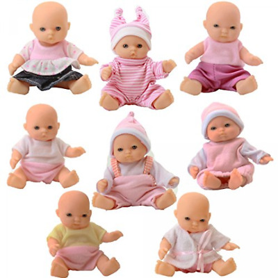 Set Of 8 Assorted Mini Dolls 5 Inches Tall Girl Baby Collectible Pretend Play
