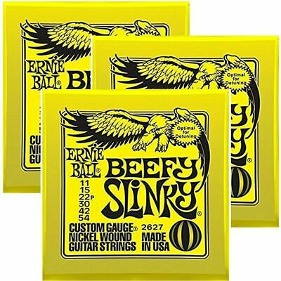 3 sets Ernie Ball Beefy Slinky Set, .011 - .054 Electric Guitar Strings