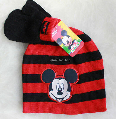 Disney Mickey Mouse Boys Winter Hat Gloves Beanie Cap SET Mittens Kids Toddlers