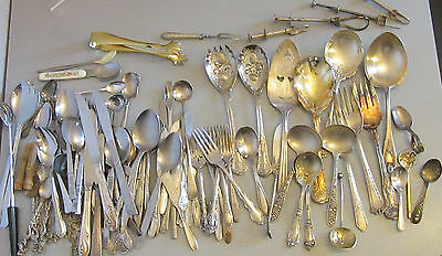 mixed lot 100+ pc FLATWARE silverplate stainless baby serving salad barware MORE
