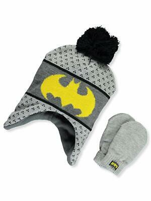 20376ff4710 DC Batman Boys Winter Hat Gloves Beanie SET Mittens Kids Toddler  Superheroes 2+