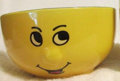 3D Nose Smiley Face on a Yellow Ceramic Bowl