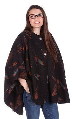 New Feather Ladies Looped Wool  Native American Hooded Cape / Poncho