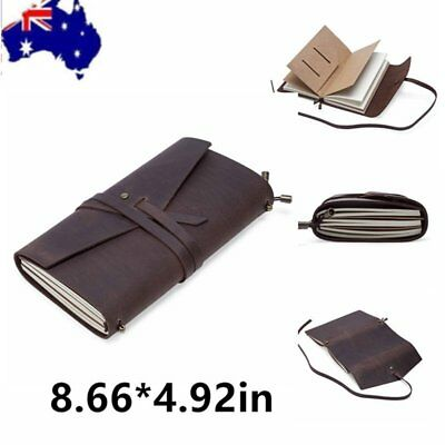 Leather Retro Vintage Diary Notebook Handbook Travel Journal Bound Pouch Pocket