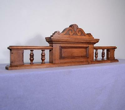 "*35"" French Antique Pediment Architectural Crown Solid Walnut Wood Crest"