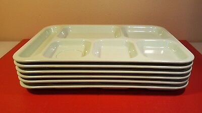 Lot Of 6 Dallas Ware 6 Compartment Cafeteria Lunch TV Food Tray Mint Green  P-71