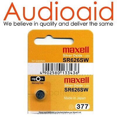 2Pc Sr626Sw (377) Genuine Maxell Silver Oxide Battery - Made In Japan (Not Fake)