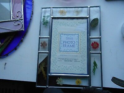 Stained Glass Window Panel Suncatcher Dried Flower Picture Frame