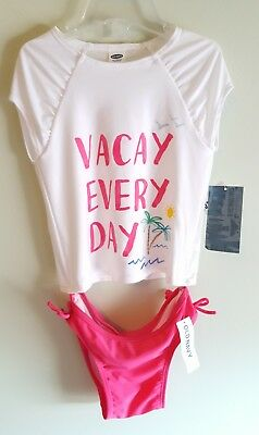 Old Navy Girls 2T 4T 5T 2-Piece Swimsuit RASH GUARD Shirt & Bottoms PINK #523817