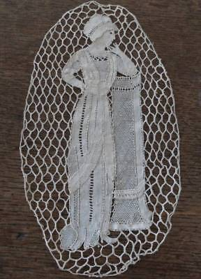 Vintage Set 2 Figural Embroidered Net Lace Doilies Victorian Lady