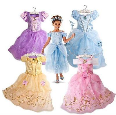 Kids Girls Aurora Sandy Rapunzel Belle Princess Party Fancy Dress Up Costume