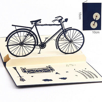 3D Xmas Pop Up Cards Sports Bicycle Bike Happy Birthday Christmas Greeting Card