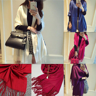 Women Winter Blanket Shawl Cashmere Wool Solid Pashmina Scarf Wraps Warm Scarves