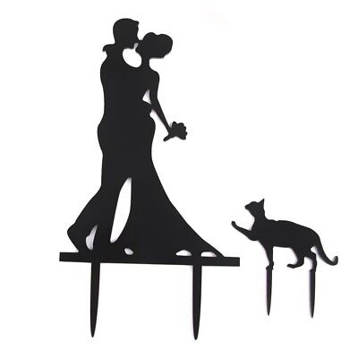Wedding Cake Topper Cake Decorations Engagement Bride & Groom with Cat Acry G6N5