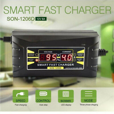 12V 6A Smart Fast Lead-acid Battery Charger fit Car Motorcycle LCD Display US/EU