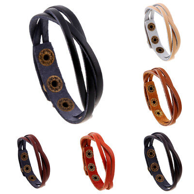 Retro Fashion Multilayer Leather Wristband Bracelet Cuff Bangle Men Women Unisex