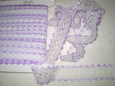 Eyelet/knitting in/coathanger lace 10 metres x 3.8 wide white with lilac edging