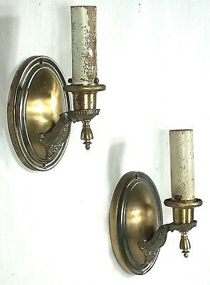 PAIR OF EARLY 20th CENTURY OVAL BACK CLASSICAL REGENCY BRASS SCONCES
