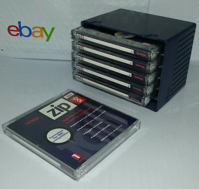 6 BRAND NEW iomega 100 MB Zip drive Disk PC Plus Storage case IBM formatted disc