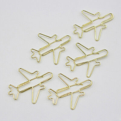 5x Kids Aircraft Metal Bookmarks Paper Clips Office School Stationery Clips Gift