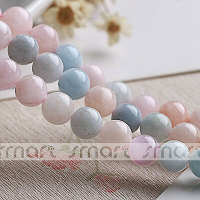 """Natural Brazil Morganite Gemstone Round Loose Beads 15.5"""" Inches Strand 6mm 8mm"""