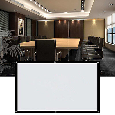 "White 16:9, 100"" Electric Motorized Remote Projection Screen HD Movie Projector"