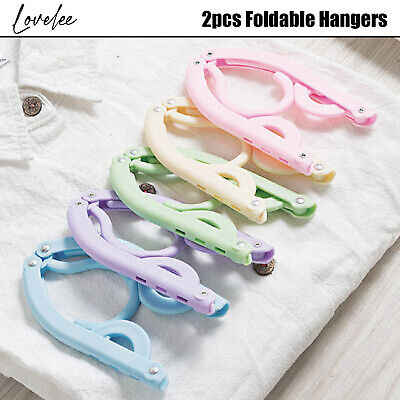 2pcs Foldable Hanger Coat Rack Portable Folding Plastic Travel Pastel Colour