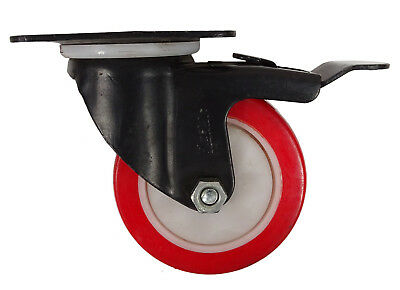 Plasto 100 mm Furniture Revolving Plate Wheel With Brakes,187 Lbs Load Capacity