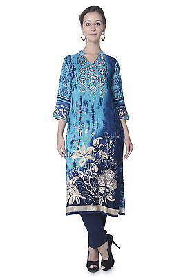 Indian Bollywood Designer Printed Gold Foil Flawer Ethnic Top Tunic Rayon kurti