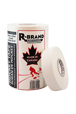 R-Brand 174810 White Hockey Stick Tape, 6-Pack, 24-Millimeter x 25-Meter